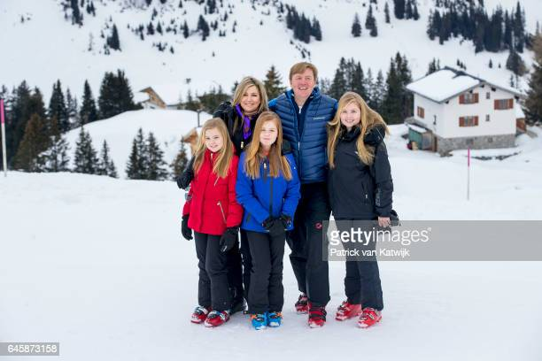 King WillemAlexander Queen Maxima Princess Amalia Princess Alexia and Princess Ariane of The Netherlands pose for the media during their annual...