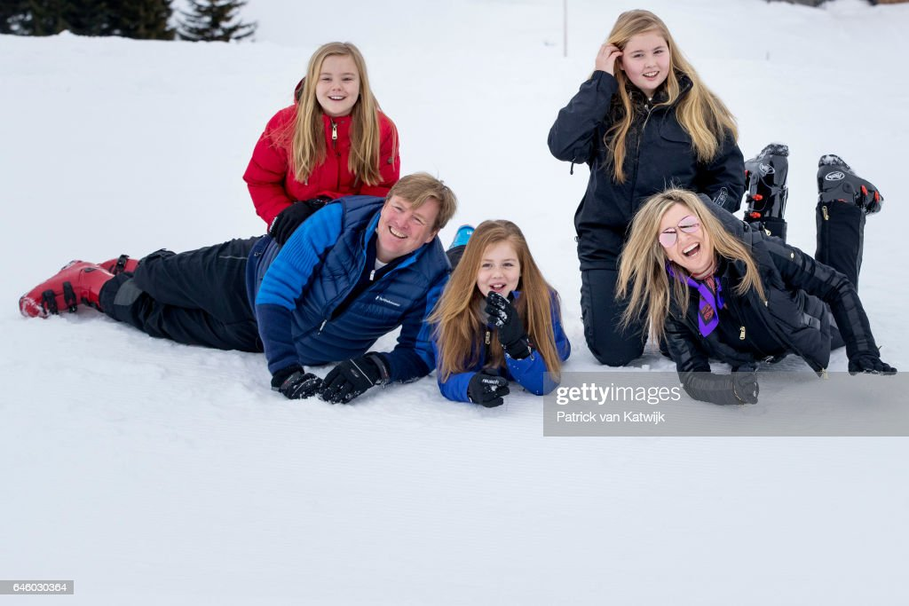 King Willem-Alexander, Queen Maxima, Princess Amalia, Princess Alexia and Princess Ariane of The Netherlands pose for the media during their annual wintersport holidays on February 27, 2017 in Lech, Austria.