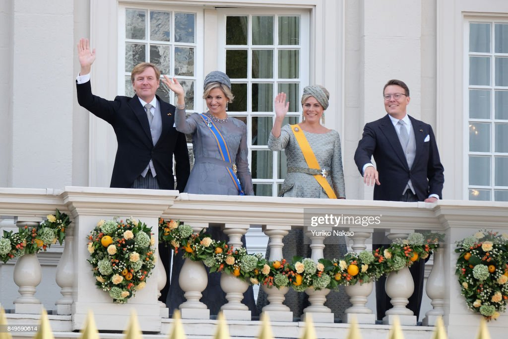 King Willem-Alexander, Queen Maxima, Princess Laurentien and Prince Constantijn wave at the balcony of Palace Noordeinde during the Prinsjesdag on September 19, 2017 in The Hague, Netherlands. The Prinsjesdag, the opening-day of Dutch parliament, takes place annually on the third Tuesday of September.