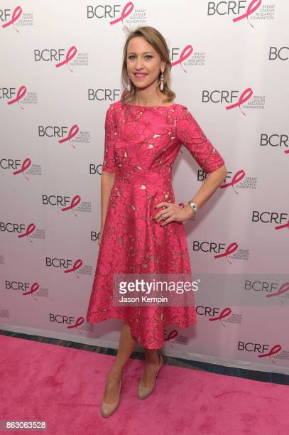 Kinga Lampert BCRF CoChair arrives at the Breast Cancer Research Foundation New York Symposium and Awards Luncheon at New York Hilton on October 19...