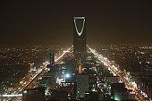 Kingdom centre at night, Riyadh, Saudi Arabia