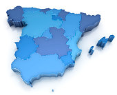 Kingdom of Spain - map with regions