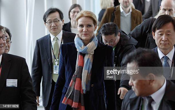 Kingdom of the Denmark Prime Minister Helle ThorningSchmidt arrives to participate in 2012 Seoul Nuclear Security Summit at the Incheon internation...