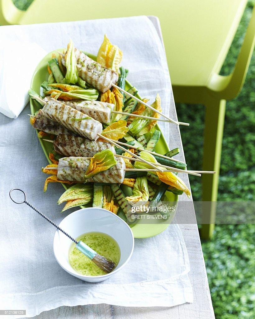 Kingfish skewers with zucchini