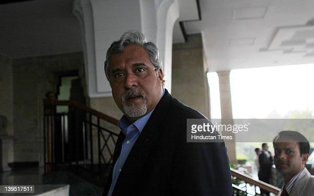 Kingfisher Airline Chairman Vijay Mallya arrives at Hayatt hotel on February 22 2012 in New Delhi India The beleaguered carriers plunged into more...