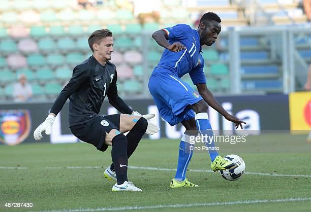 Kingley Boateng of Italy U21 compete with Grega Sorcan goalkeeper of Slovenia U21 during the 2017 UEFA European U21 Championships Qualifier between...