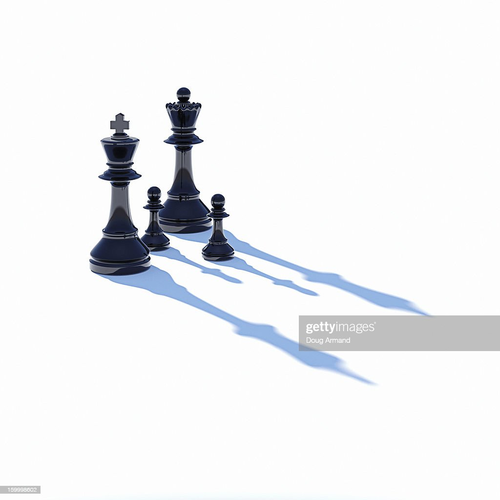 King,Queen and two pawn chess pieces : Stock Photo
