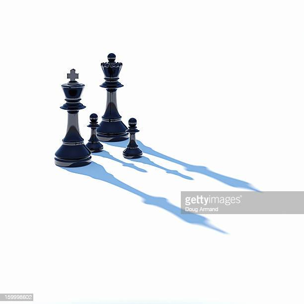 King,Queen and two pawn chess pieces