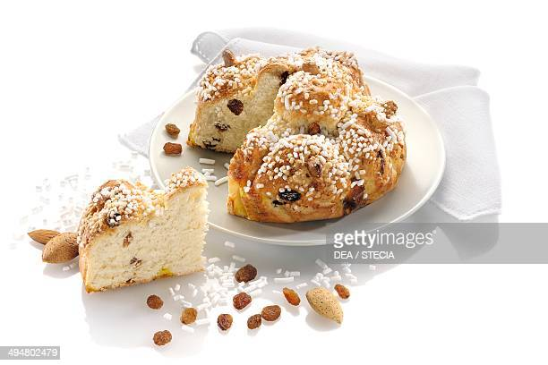 King's cake soft cake with raisins and covered with rice grains