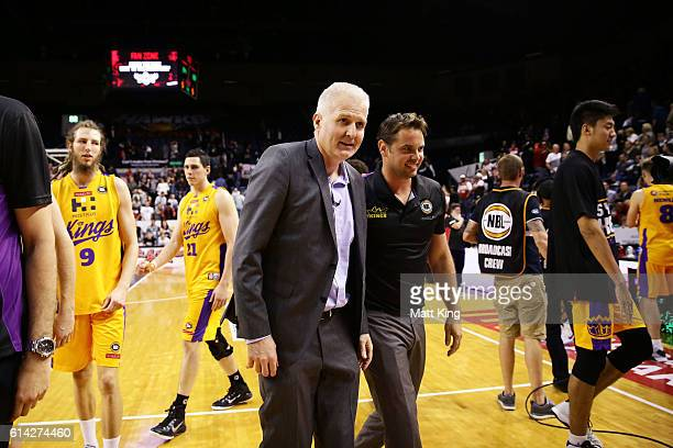 Kings coach Andrew Gaze celebrates victory after the round two NBL match between the Illawarra Hawks and the Sydney Kings at the Wollongong...
