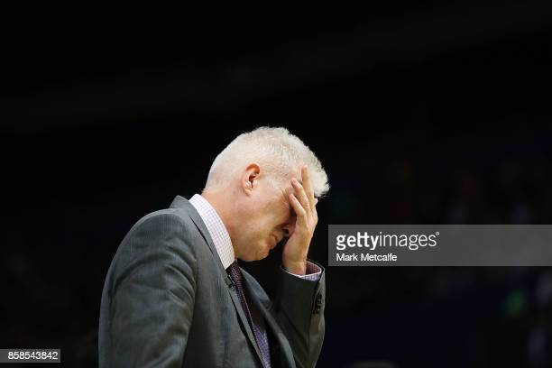 Kings coach Andrew Gaze looks dejected after defeat in the round one NBL match between the Sydney Kings and the Adelaide 36ers at Qudos Bank Arena on...