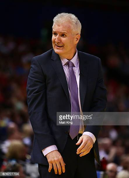 Kings coach Andrew Gaze looks on during the round eight NBL match between the Sydney Kings and the Adelaide 36ers at Qudos Bank Arena on November 28...
