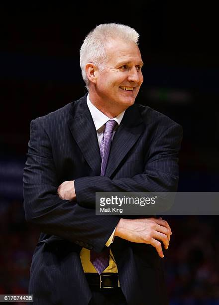 Kings coach Andrew Gaze looks on during the round three NBL match between the Sydney Kings and the Illawarra Hawks at Qudos Bank Arena on October 24...