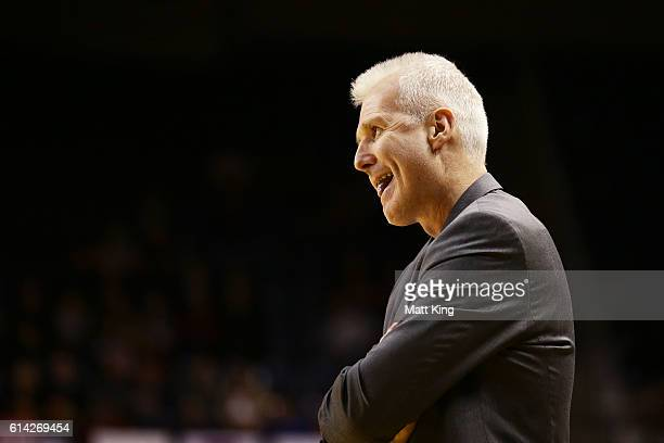 Kings coach Andrew Gaze looks on during the round two NBL match between the Illawarra Hawks and the Sydney Kings at the Wollongong Entertainment...