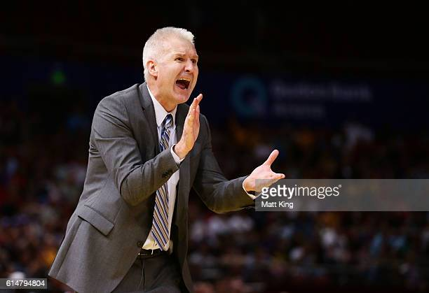 Kings coach Andrew Gaze reacts during the round two NBL match between the Sydney Kings and the Cairns Taipans at Qudos Bank Arena on October 15 2016...