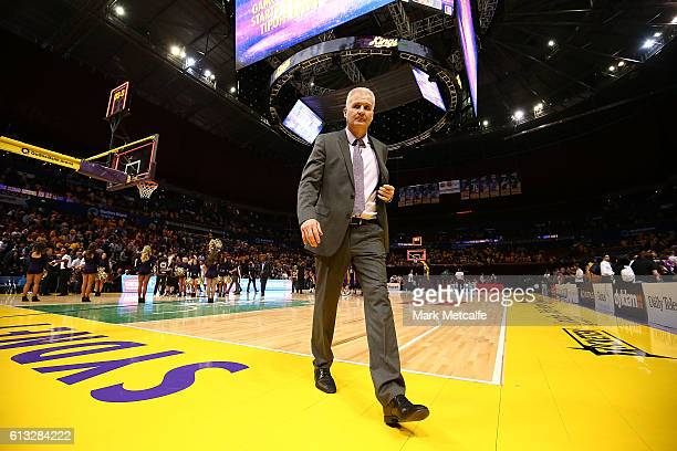 Kings coach Andrew Gaze walks from the arena after defeat in the round one NBL match between the Sydney Kings and the Brisbane Bullets at Qudos Bank...