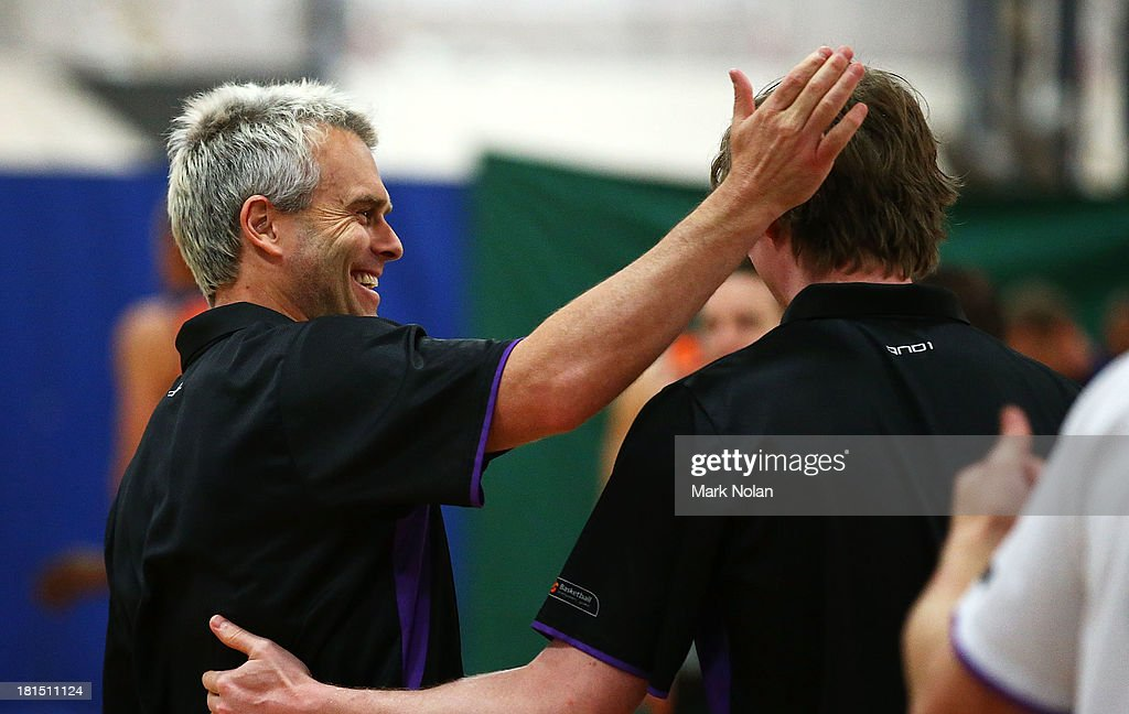 Kings coach Shane Heal has a laugh during the 2013/14 Pre-season Blitz match between The Sydney Kings and the Cairns Taipans at the North Sydney Indoor Sports Centre on September 22, 2013 in Sydney, Australia.