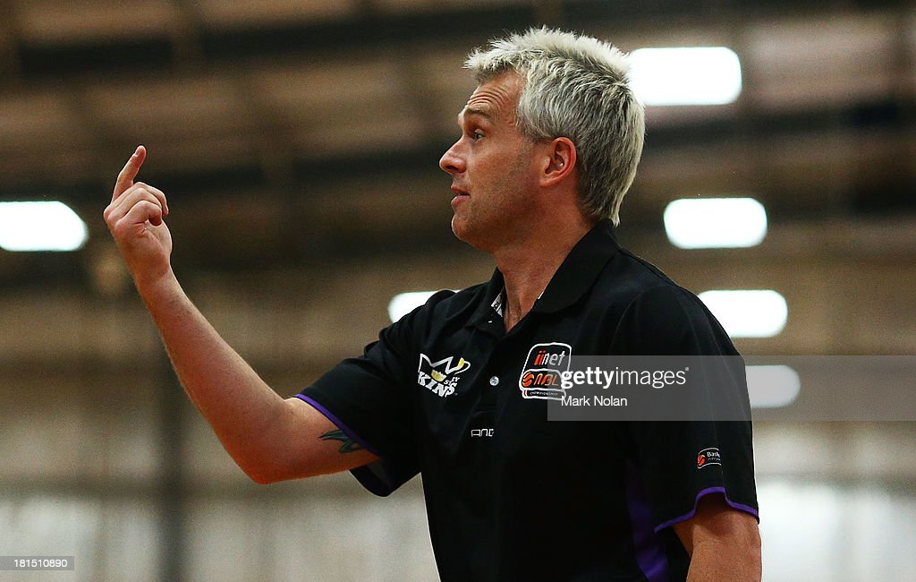 Kings coach Shane Heal motions during the 2013/14 Pre-season Blitz match between The Sydney Kings and the Cairns Taipans at the North Sydney Indoor Sports Centre on September 22, 2013 in Sydney, Australia.
