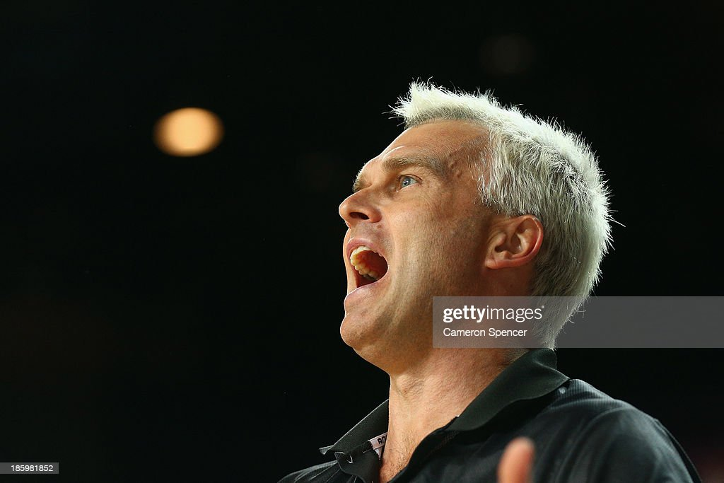 Kings coach Shane Heal shouts during the round three NBL match between the Sydney Kings and the Perth Wildcats at Sydney Entertainment Centre in October 27, 2013 in Sydney, Australia.