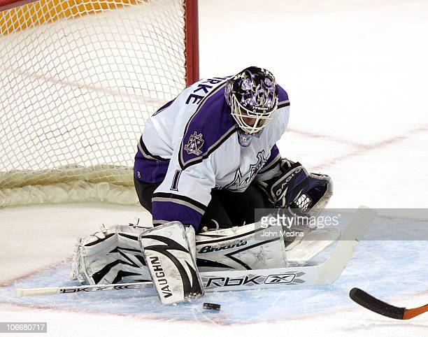 Kings goalie Sean Burke makes a save during the San Jose Sharks 31 defeat of the Los Angeles Kings March 27 2007 at HP Pavilion in San Jose California