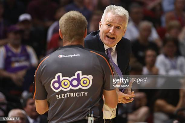 Kings head coach Andrew Gaze shows his frustration to the umpire during the round 10 NBL match between the Sydney Kings and Melbourne United at Qudos...