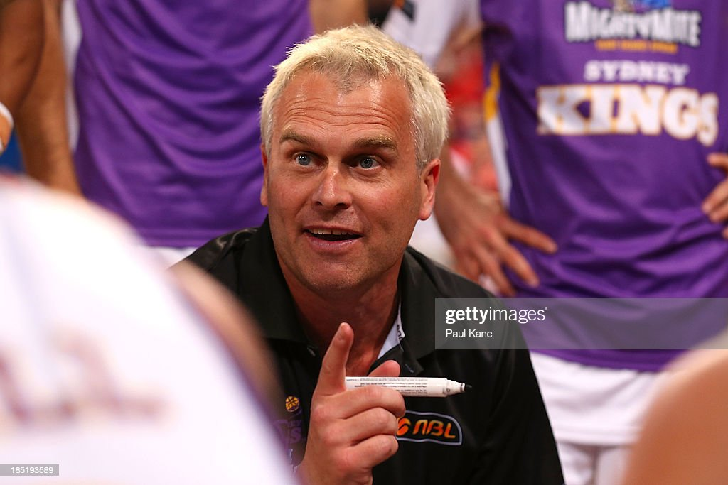 Kings head coach Shane Heal addresses his players at a time out during the round two NBL match between the Perth Wildcats and the Sydney Kings at Perth Arena in October 18, 2013 in Perth, Australia.