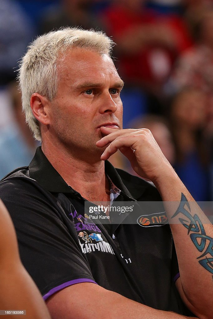 Kings head coach Shane Heal looks on during the round two NBL match between the Perth Wildcats and the Sydney Kings at Perth Arena in October 18, 2013 in Perth, Australia.
