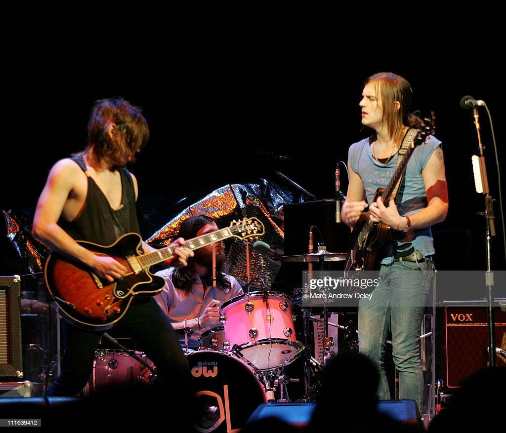 Kings of Leon during Kings of Leon Open for U2 in Concert May 26 2005 at TD Banknorth Garden in Boston Massachusetts United States