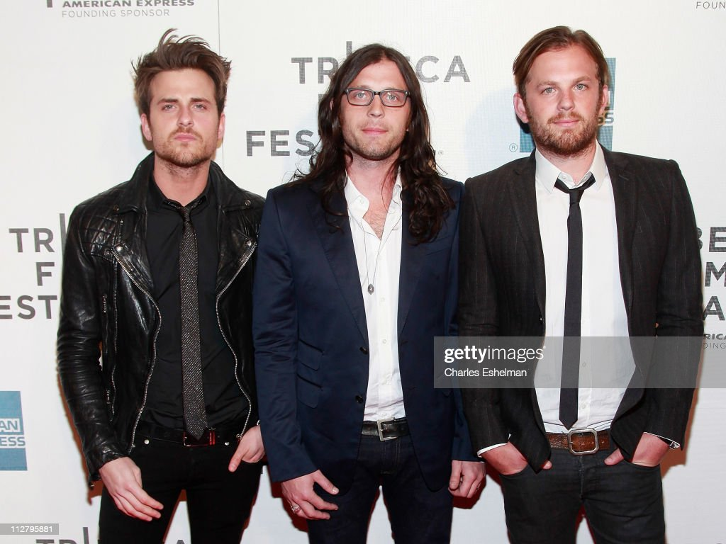 Kings of Leon members Jared Followill, bass guitar, Nathan Followill, drums and Caleb Followill lead singer/guitar attend the premiere of 'Talihina Sky: The Story Of Kings Of Leon' during the 10th annual Tribeca Film Festival at BMCC Tribeca PAC on April 21, 2011 in New York City.