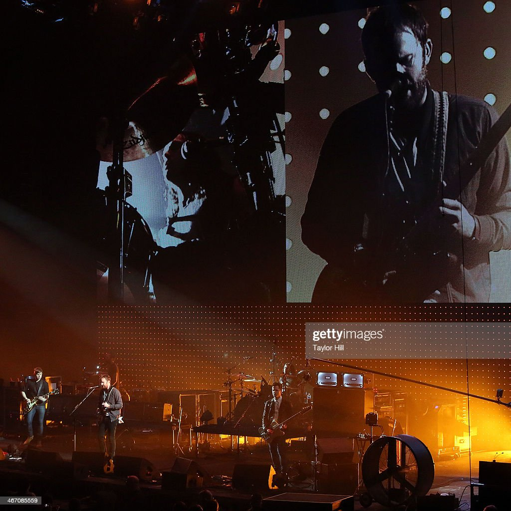Kings of Leon perform in concert during the 'Mechanical Bull' tour at Philips Arena on February 5, 2014 in Atlanta, Georgia.