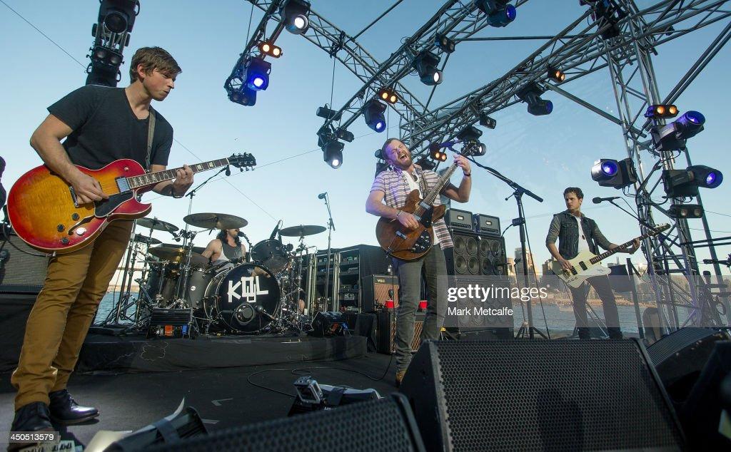 Kings of Leon perform live for fans at Sydney Harbour on November 19 2013 in Sydney Australia