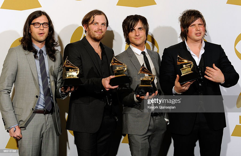 Kings of Leon pose in the press room during the 52nd Annual GRAMMY Awards held at Staples Center on January 31 2010 in Los Angeles California