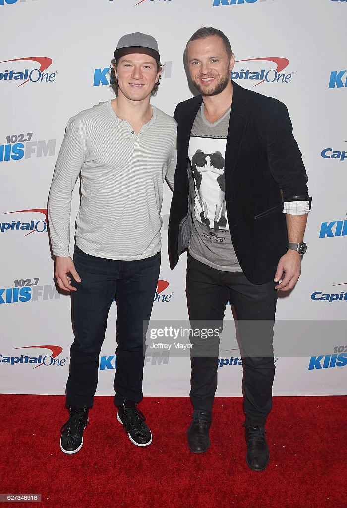 LA Kings players Tyler Toffoli (L) and Mark Yannetti attend 102.7 KIIS FM's Jingle Ball 2016 at Staples Center on December 2, 2016 in Los Angeles, California.