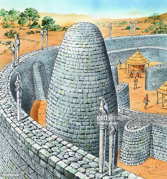 Kings residence in Zimbabwe in the 1400s Near the conical tower probably a store for grain the buttressed walls were decorated with a chevron pattern...