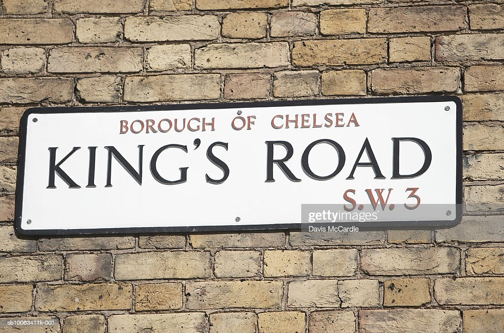 Kings Road, street sign in Chelsea, London, England. : Stock Photo