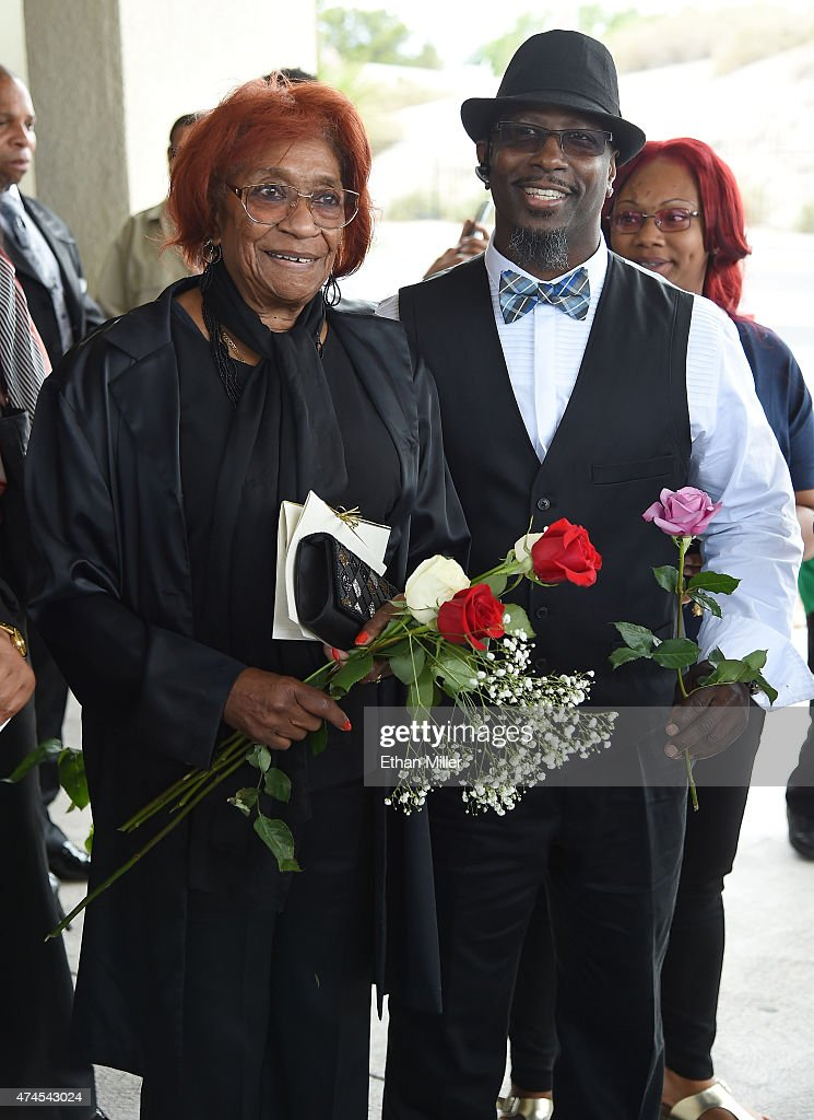 B.B. King's sister Fay Modie King (L) and nephew Mitchell King leave a funeral for the blues musician at Palm Downtown Mortuary & Cemetery on May 23, 2015 in Las Vegas, Nevada. B.B. King died on May 14 in Las Vegas at age 89.