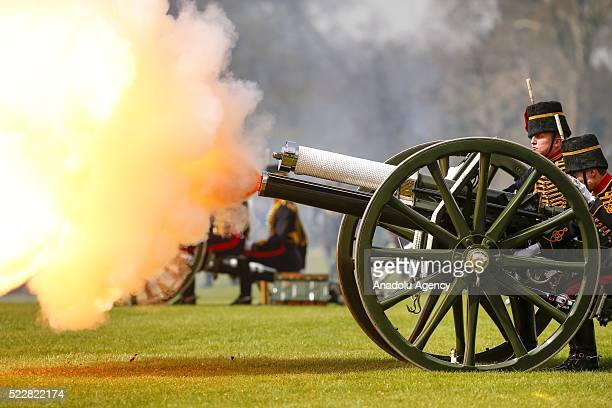 King's Troop Royal Artillery soldiers mark the Queens 90th birthday with a 41 Gun Royal Gun Salute in Hyde Park London England on April 21 2016