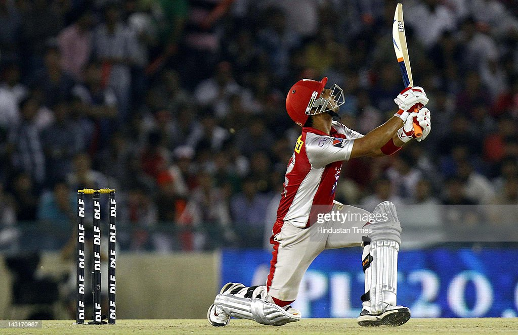 Kings XI Punjab batsman Mandeep Singh plays a shot during IPL-5 T20 Cricket match played between Kings XI Punjab and Royal Challengers Bangalore at PCA stadium on April 20, 2012 in Mohali, India. Batting first after losing the toss Kings XI Punjab posted a target of 164 runs to win for Royal Challengers Bangalore.