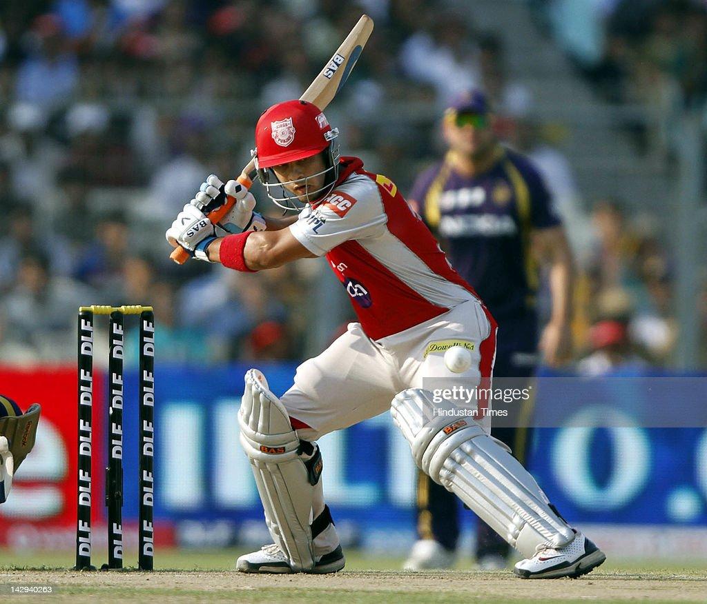 Kings XI Punjab batsman Mandeep Singh plays a shot during the IPL 5 cricket match played between Kings XI Punjab and Kolkata Knight Riders at Eden Gardens on April 15, 2012 in Kolkata, India. In a nail bitting contest Kings XI Punjab managed to win by 2 runs.