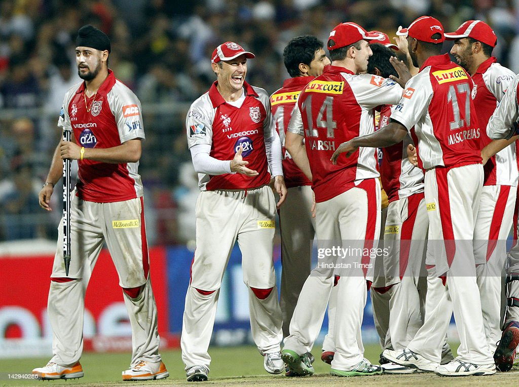 Kings Xl Punjab players celebrating win over Kolkata Knight Riders in the IPL 5 cricket match at Eden Gardens on April 15, 2012 in Kolkata, India. In a nail bitting contest Kings XI Punjab managed to win by 2 runs.