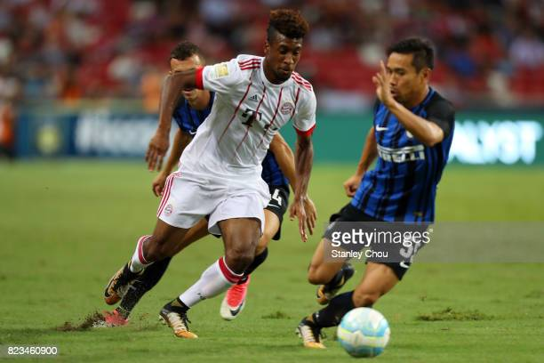 Kingsley Coleman of FC Bayern trying to beat Yuto Nagatomo of FC Internzionale during the International Champions Cup match between FC Bayern and FC...
