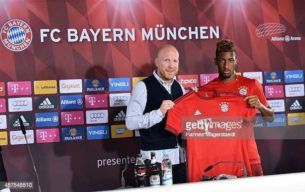 Kingsley Coman and Matthias Sammer during the 'FC Bayern Muenchen Unveils New Signing Kingsley Coman' at press center of FC Bayern on September 10...