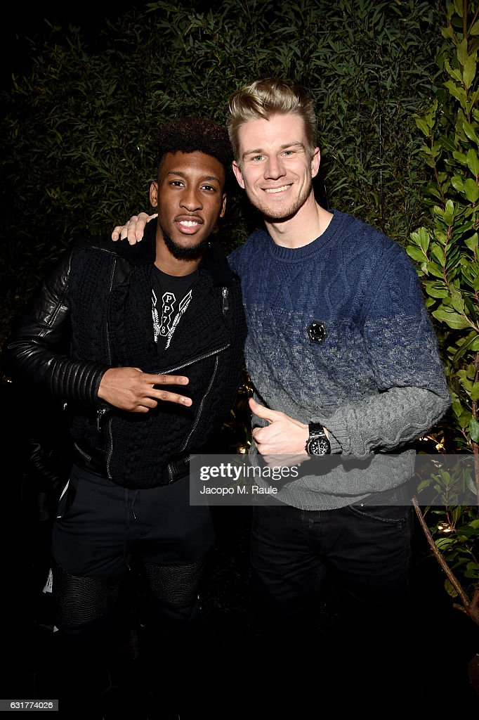 Kingsley Coman (L) and Nicolas Hulkenberg attend Philipp Plein Boutique Opening during Milan Men's Fashion Week Fall/Winter 2017/18 on January 15, 2017 in Milan, Italy.