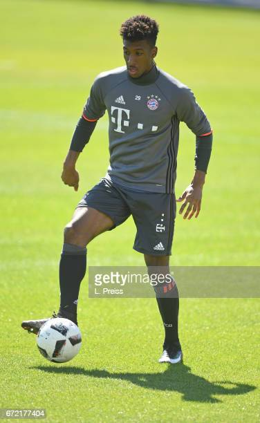Kingsley Coman in action during a training session of FC Bayern Muenchen on April 24 2017 in Munich Germany