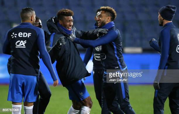 Kingsley Coman Jordan Amavi of France warm down following the FIFA 2018 World Cup Qualifier between Bulgaria and France at Vasil Levski National...