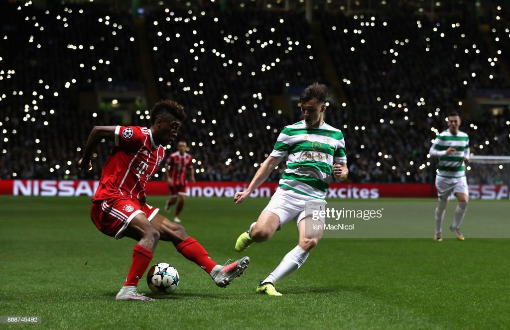 Kingsley Coman of Bayern Muenchen and Kieran Tierney of Celtic battle for the ball during the UEFA Champions League group B match between Celtic FC and Bayern Muenchen at Celtic Park on October 31, 2017 in Glasgow, United Kingdom.