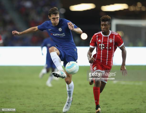 Kingsley Coman of Bayern Muenchen battles for the ball with Andreas Christensen of Chelsea during the International Champions Cup 2017 match between...