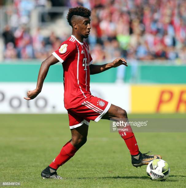 Kingsley Coman of Bayern Muenchen controls the ball during the DFB Cup first round match between Chemnitzer FC and FC Bayern Muenchen at...