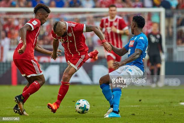 Kingsley Coman of Bayern Muenchen Franck Ribery of Bayern Muenchen and Amadou Diawara of Napoli battle for the ball during the Audi Cup 2017 match...