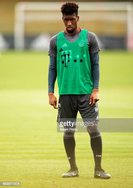 Kingsley Coman of Bayern Muenchen in action during FC Bayern Muenchen training at Saebener Strasse training ground on March 21 2017 in Munich Germany